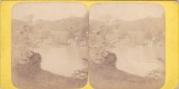 Vieille Photo Stereoscopique Paris Bois De Boulogne Avant 1900 Fontaine Et Cascade - Stereo-Photographie