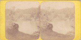 Vieille Photo Stereoscopique Paris Bois De Boulogne Avant 1900 Fontaine Et Cascade - Stereoscopic