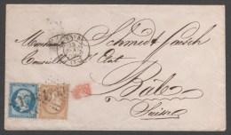 Napoléon III  N° 21/22 Avec Oblitération Sur Lettre Envoyé En Suise TB - 1862 Napoleon III