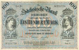 Deutschland, Germany, Sächsische Bank - 100 Mark,  ( Ro.: SAX 8 A, LIT. K., Ser. V ), 1911 ! - 1871-1918: Deutsches Kaiserreich