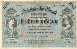 Deutschland, Germany, Sächsische Bank - 100 Mark,  ( Ro.: SAX 8 A, LIT. K., Ser. III ), 1911 ! - [ 2] 1871-1918 : German Empire
