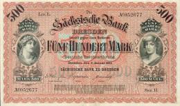 Deutschland, Germany, Sächsische Bank - 500 Mark,  ( Ro.: SAX 9 A, LIT. L., Ser. II ) XF, 1911 ! - [ 2] 1871-1918 : German Empire