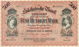 Deutschland, Germany, Sächsische Bank - 500 Mark,  ( Ro.: SAX 9 A, LIT. L., Ser. III ) XF, 1911 ! - [ 2] 1871-1918 : Impero Tedesco