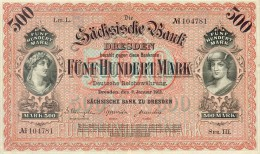 Deutschland, Germany, Sächsische Bank - 500 Mark,  ( Ro.: SAX 9 A, LIT. L., Ser. III ) XF, 1911 ! - [ 2] 1871-1918 : Duitse Rijk