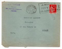 1936--flamme AMIENS Ses Velours,sa Confection-type Paix--Amiens-gare 26-6-1936--personnalisée TOPART Pour DENAIN - Marcofilia (sobres)
