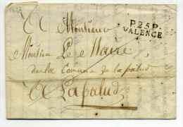 MP P25P VALENCE / Port Payé / Dept De La Drôme / 22 Mars 1823 - Marcophilie (Lettres)