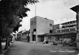"""01738 """"(NOVARA) OLEGGIO - TEATRO COMUNALE"""" ARCHIT. ´900. ANIMATA, AUTO. CART. ORIG. SPED. 1955 - Other Cities"""