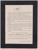 Madame Zoé Léocadie Marie Comtesse Le Borgne De La Tour, Chanoinesse Du Chapitre Royal D'Autriche, 1906. - Décès