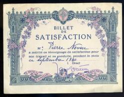 Billet De Satisfaction   Septembre 1960   FRM 18 - Diploma & School Reports