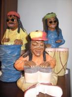 3 Belle Statuine  Anni '80  Percussionisti Reggae  - Marchio Drkk Altezze Da 16 A 25 Cm - Personaggi