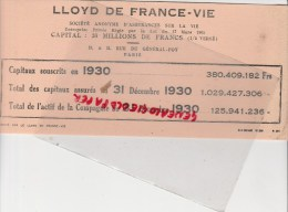 75- PARIS- BUVARD LLOYD DE FRANCE VIE- 19-21 RUE DU GENERAL FOY - Banque & Assurance