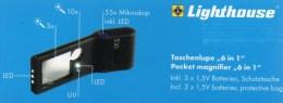 Mini-Lupe Mikroskop 55x UV-Licht New 10€ Prüfen Karten Briefmarke Münzen Paper Money Cards LEUCHTTURM Offer In Black Bag - Zubehör