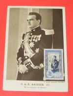 S.A.S. RAINIER III  Prine Souverain De Monaco    :::::: Timbre - Oblitéré - Carte Maximun - Tampons - Maximum Cards
