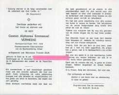 Verheeke Gaston Alphonse Dua Yvonne  Gent Gentbrugge 1902  Bidprentje Doodsprentje - Religion & Esotericism