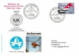 AIR ZERMATT. HELIKOPTER POSTFLUG 22.7.82. ZERMATT-CERVINIA BREUIL AO. Bef.mit ALOUETTE III HB / XDA. Zu.653 - Hubschrauber