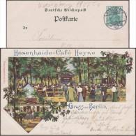 Allemagne 1902. Carte, Entier TSC. Gruss Aus Berlin. Hasenhaire - Café Heyne. Tables Et Chaises Dans Les Bois, éclairage - Arbres