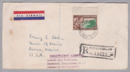 """OZ PITCAIRN 1947-10-24 Cristobal R-Brief Nach USA """"Insufficient Address"""" Zurück Gesendet - Timbres"""