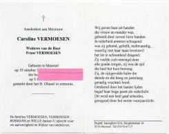 Vermoesen Caroline Weduwe Frans Vermoesen Bosmans Wille Moorsel   Bidprentje Doodsprentje - Religión & Esoterismo