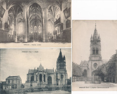 Lot De 3 Cartes  De  BRESLES  L' église   ( Recto Verso ) - France