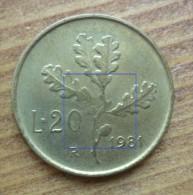 20 LIRE DEL 1981 CON DIFETTO DI CONIO - - 20 Lire
