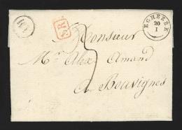 Pr�philat�lie - lettre dat�e 1837 type 18 EGHEZEE + bo�te rurale AM de Perwez pour Bouvignes