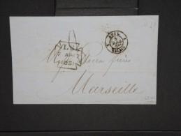 """FRANCE-Cad """" Angl 2 Calais 1851"""" Sur Lettre( Avec Texte) De Londres Pour Marseille En 1851        à Voir  P6242 - Poststempel (Briefe)"""