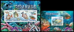 st15212ab S.Tome Principe 2015 Piranhas Fish 2 s/s