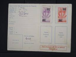 FRANCE-Vignettes( Timbres De Cotisations) De L'association Des Prisonniers De Guerre Sur Document En 1952/53     P6250 - Erinnophilie