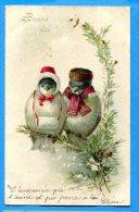 LIP405, Oiseaux Déguisés, Bonne Fête, Trou De Punaise, Circulée  1906 Cachet Combremont Le Petit - Vogels