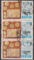 Bhutan, 1975 - 4ch Pendants And Box Cover, Trittico - Nr.187 Usato° - Bhutan