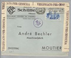 Italien 1941-08-18 Zensurbrief Mit 1.25Lire Einzelfrankatur Nach Moutier - Other