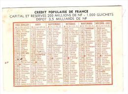 Petit Calendrier Du Crédit Populaire De France 1963 (PPP1000) - Petit Format : 1961-70