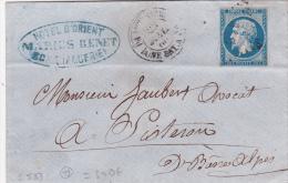 """Cachet T15 """""""" PHILIPPEVILLE BONE BAT A VAP """""""" + PC 3734 Obl Empire N°14 Sur Lettre - Vapeur > Sisteron Basses Alpes - - Marcophilie (Lettres)"""