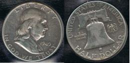 EE.UU.  USA HALF DOLLAR 1949  PLATA SILVER - 1948-1963: Franklin