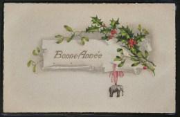 Litho Aquarelle Fantaisie Illustrateur S.B.W. 313 Porte Bonheur VOEUX Gui Houx Et Pendentif Elephant - Éléphants