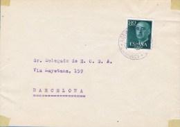 13249. Frontal ZARAGOZA 1957. Fechado Azul Agencia Postal Urbana Num 2 - 1931-Hoy: 2ª República - ... Juan Carlos I