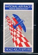 Vignette Aviation, National Air Races , Chicago 1930 - Commemorative Labels