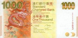 """Hong Kong, 1000 Dollar, """" STANDARD CHARTERED BANK """", Pick Nr. 301, UNC, 2010 ! - Hongkong"""