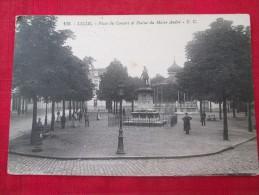 LILLE Place Du Concert Et Statue Du Maire André Animée Timbrée 1925 - Monuments