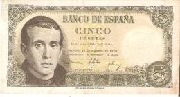 BILLETE DE ESPAÑA DE 5 PTAS DEL 16/08/1951 SERIE I EN CALIDAD MBC (BANKNOTE) - [ 3] 1936-1975 : Régimen De Franco