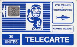 FRENCH POLYNESIA - TIKI Bleu(PF3)(petit Logo), First Issue 30 Units, Chip SC4, CN : 17312, Tirage %15000, 12/88, Used - French Polynesia