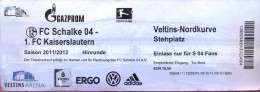 Ticket Ingang Voetbal Bundesliga - Match FC Schalke 04 - FC Kaiserslautern - 2011 - Tickets - Entradas