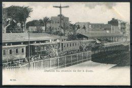 Egypt Station Du Chemin De Fer A Suez / Railway Train Postcard - Suez