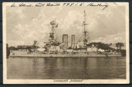 1927 Germany DR Linienschiff Schlesien Warship Postcard Niebull, Schleswig - Kiel - Warships