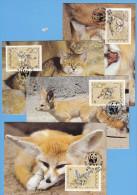 + YEMEN SUD 1989, WWF, CATS, FOX, ENDANGERED SPECIES, Mi: 450 - 453,  Cpl. Set  MC, FDC POSTMARK - Yemen