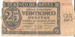 BILLETE DE ESPAÑA DE 25 PTAS DEL 21/11/1936 SERIE H CALIDAD  RC (BANKNOTE) - 25 Peseten