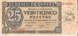 BILLETE DE ESPAÑA DE 25 PTAS DEL 21/11/1936 SERIE S CALIDAD  RC (BANKNOTE) - [ 3] 1936-1975 : Regency Of Franco