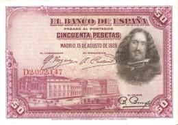 BILLETE DE ESPAÑA DE 50 PTAS DEL AÑO 1928 SERIE D CALIDAD EBC (BANKNOTE) - [ 1] …-1931 : Primeros Billetes (Banco De España)