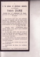 14-18 LATINNE BRAIVES Frédéric SALMON Soldat 14e De Ligne Mort Fort De Loncin à 23 Ans En Août 1914 Doodsprentje - Obituary Notices