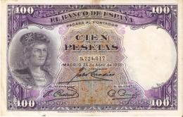 BILLETE DE ESPAÑA DE 100 PTAS DEL AÑO 1931 BC SIN SERIE  (BANKNOTE) - 100 Pesetas